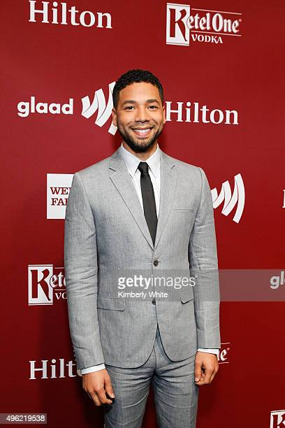 Jussie Smollett speaks at the GLAAD Gala at the Hilton San Francisco on November 7 2015 in San Francisco California