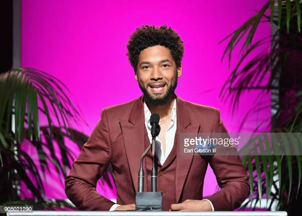 Jussie Smollett speaks onstage at the 49th NAACP Image Awards Non-Televised Awards Dinner at the Pasadena Conference Center on January 14, 2018 in...
