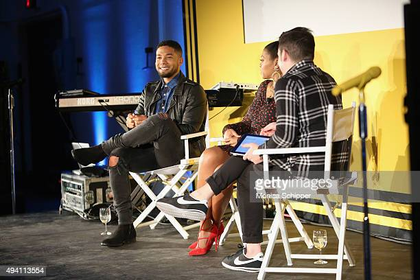 """Jussie Smollett, Taraji P. Henson and Tim Stack speak onstage during Entertainment Weekly's first ever """"EW Fest"""" presented by LG OLED TV on October..."""