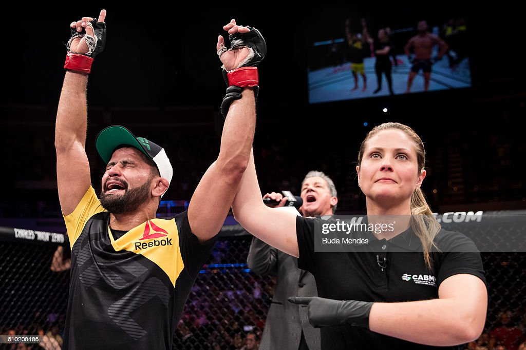 Jussier Formiga of Brazil celebrates victory over Dustin Ortiz of the United States in their bantamweight UFC bout during the UFC Fight Night event at Nilson Nelson gymnasium on September 24, 2016 in Brasilia, Brazil.