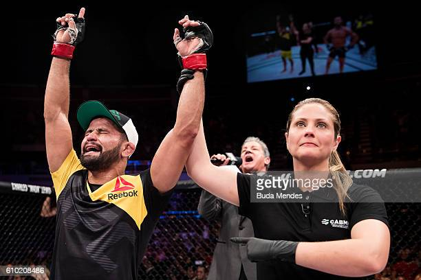 Jussier Formiga of Brazil celebrates victory over Dustin Ortiz of the United States in their bantamweight UFC bout during the UFC Fight Night event...