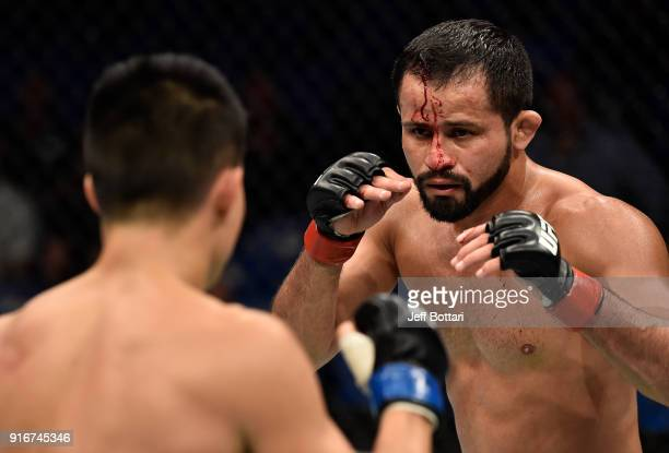 Jussier Formiga of Brazil circles Ben Nguyen in their flyweight bout during the UFC 221 event at Perth Arena on February 11, 2018 in Perth, Australia.