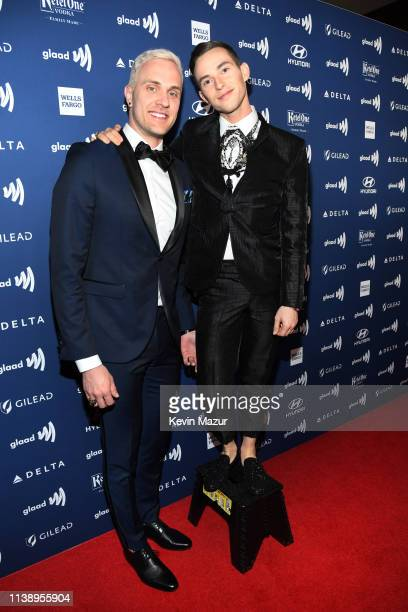 JussiPekka Kajaala and Adam Rippon attend the 30th Annual GLAAD Media Awards Los Angeles at The Beverly Hilton Hotel on March 28 2019 in Beverly...