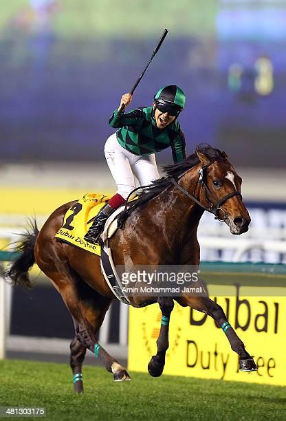 Just A Way ridden by Yuichi Fukunaga wins the Dubai Duty Free during at the Meydan Racecourse on March 29, 2014 in Dubai, United Arab Emirates.