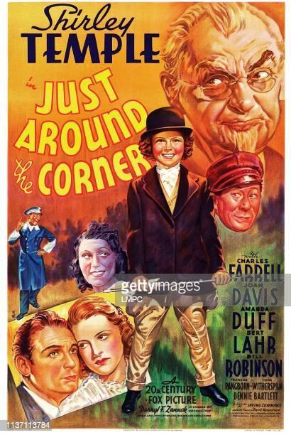 Just Around The Corner poster US poster art bottom inset Charles Farrell Amanda Duff above from left Bill Robinson Joan Davis Shirley Temple Bert...