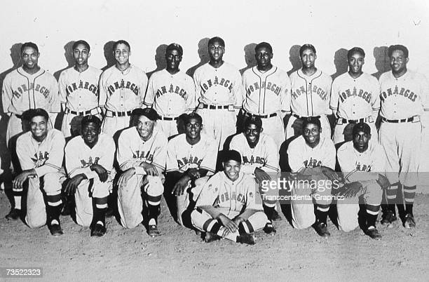 Just before the beginning of the 1934 Denver Post Tournament in Colorado, the Kansas City Monarch pose for a team photo. In the back row, far right,...