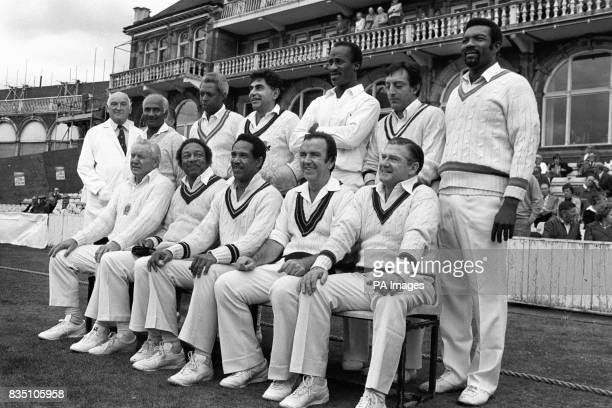 Just before their cricket match the Old World XI team at the Oval left to right back An unamed umpire Rohan Kanhai Lance Gibb Farokh Engineer Vanburn...