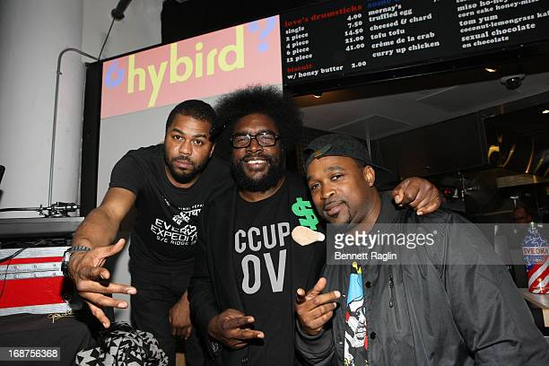 Just Blaze Questlove and DJ Spinna attend the Hybird opening night party presented by Questlove and Stephen Starr inside Chelsea Market on May 14...