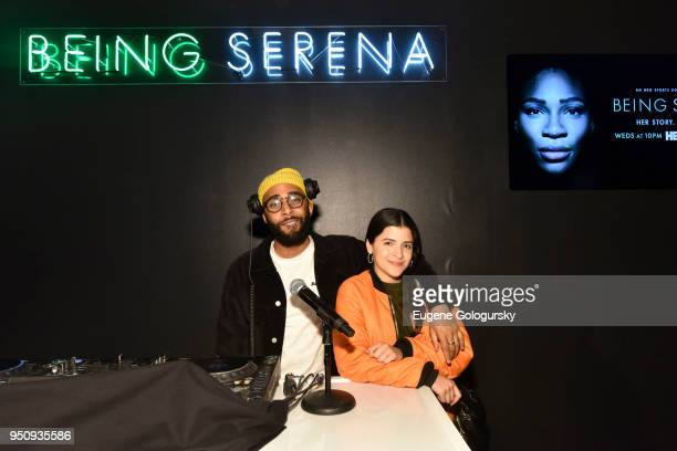 Just Dimy anAshley Outrageous attend the HBO's Being Serena Immersive Experience at Industria on April 24 2018 in New York City