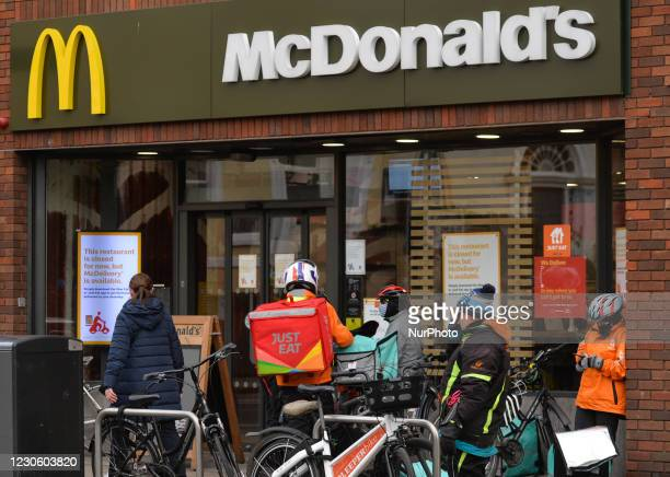Just Eat and Deliveroo food delivery couriers seen waiting outside Mc Donalds in Rathmines during Level 5 Covid-19 lockdown. On Friday, 15 January in...