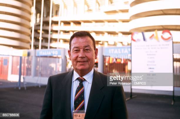 Just Fontaine of France record holder for most goals in a World Cup Finals tournament with 13 in1958 pictured outside the San Siro Stadium in Milan