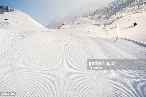 Just groomed ski slope in Andermatt, Canton Uri, Switzerland