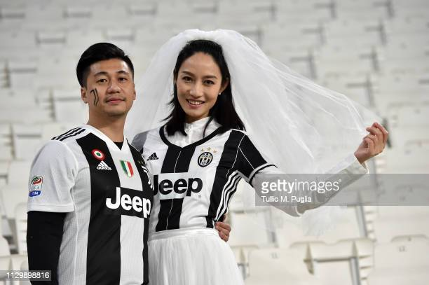 Just maried fans of Juventus look on before the Serie A match between Juventus and Frosinone Calcio on February 15 2019 in Turin Italy