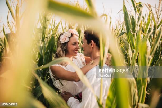 Just married couple in corn field