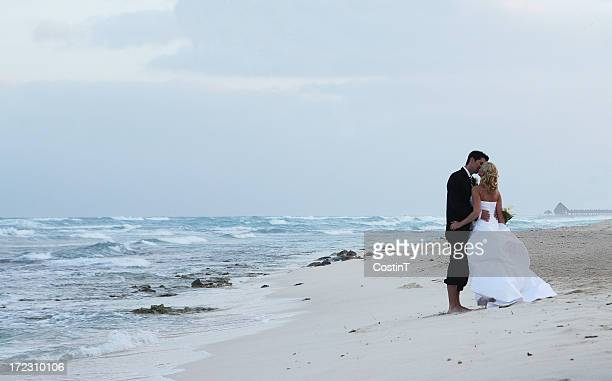Just married couple kissing