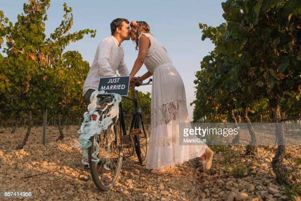 Just married couple with bike