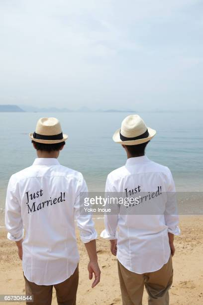 Just Married Men on the beach