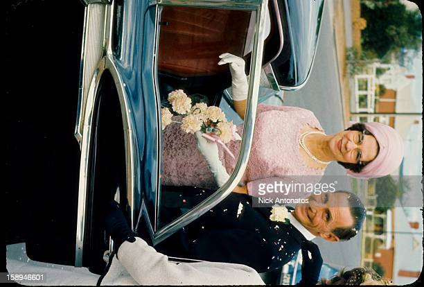CONTENT] Just married older couple getting into their 1957 Ford wedding car Scanned from Kodachrome slide of that year