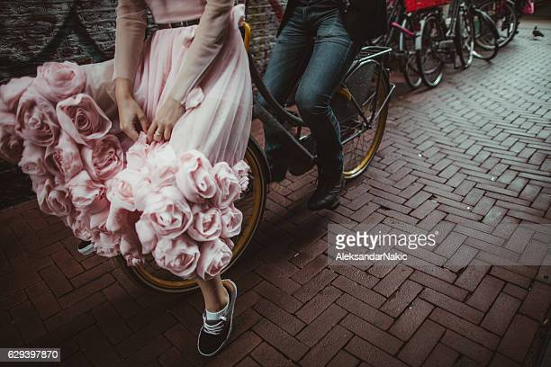 Just married on a bicycle
