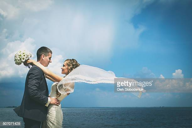 just married - wedding veil stock photos and pictures