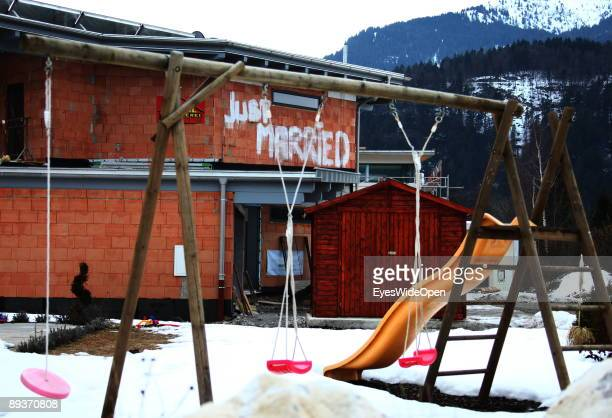 Just married written on the wall of a new built house on March 15 2009 close to Warth am Arlberg Austria