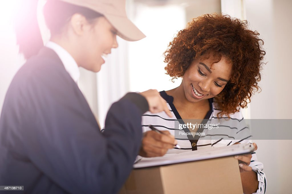 I just need you to sign over there : Stock Photo