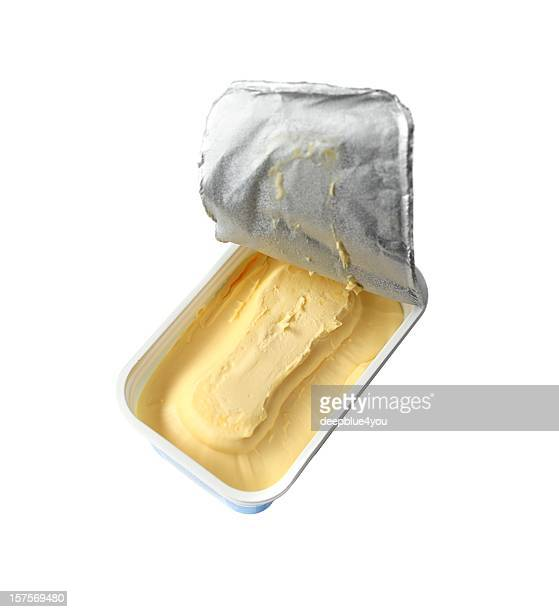 just opened margarine box - isolated on white - margarine stock pictures, royalty-free photos & images