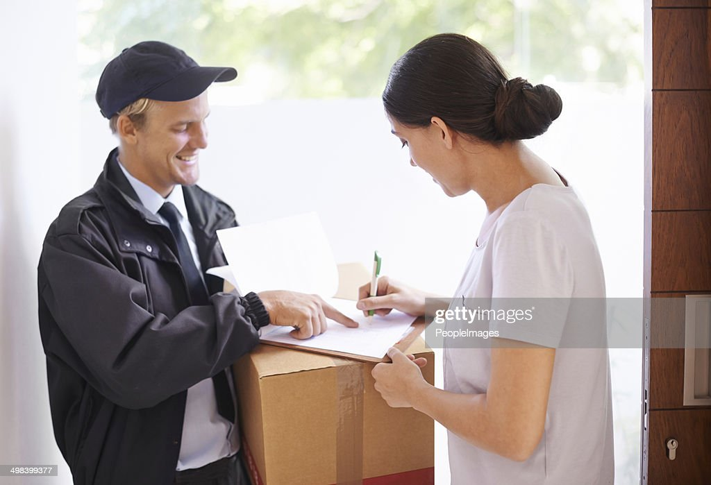 Just sign over there please... : Stock Photo