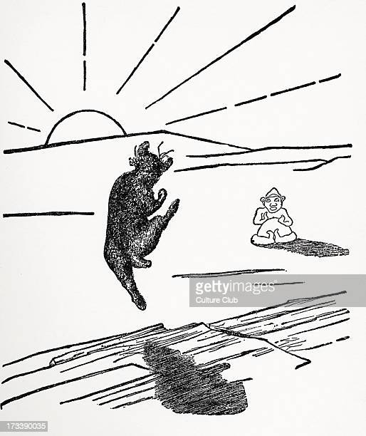 Just So Stories by Rudyard Kipling Old Man Kangaroo when he was a Different Animal with four short legs Black and white illustration by Rudyard...