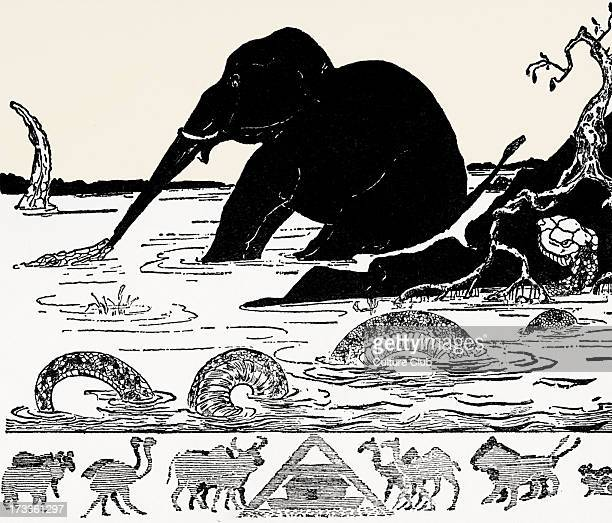 Just So Stories by Rudyard Kipling The Elephant's Child having his nose pulled by the crocodile Black and white illustration by Rudyard Kipling...