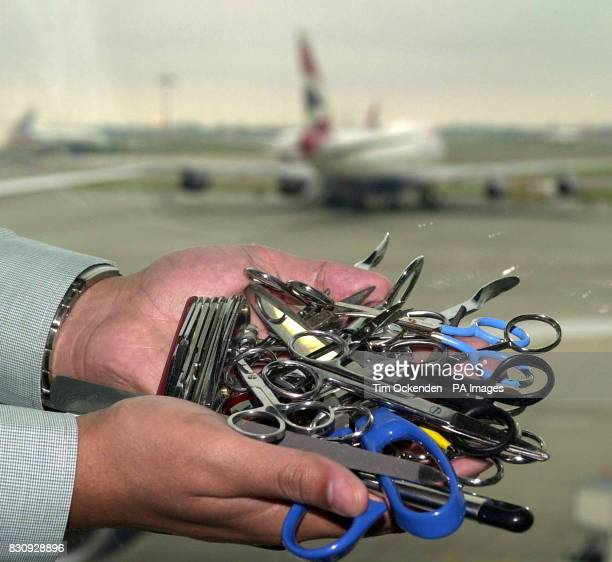 Just some of the 15000 sharp objects which are confiscated every day from hand luggage at airports in the South East *Despite warnings urging...