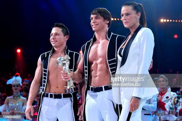 Just two Men Duo receives a silver clown awards from Princess Stephanie de Monaco during the gala of the 43th MonteCarlo International Circus...