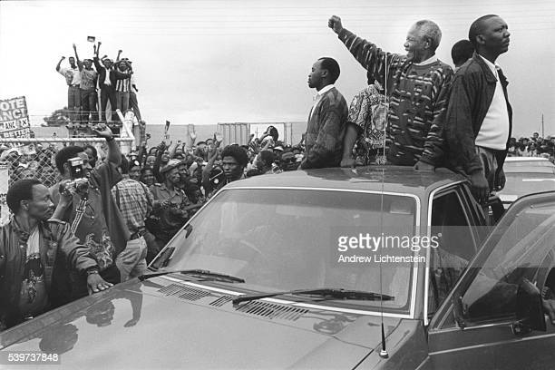 Just two weeks away from being elected President of South Africa African National Congress leader Nelson Mandela visits the rural Xhosa villages...