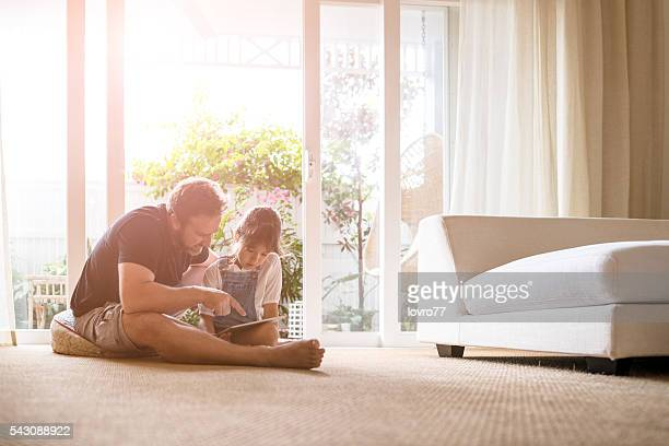 just us - dad and me - flooring stock photos and pictures