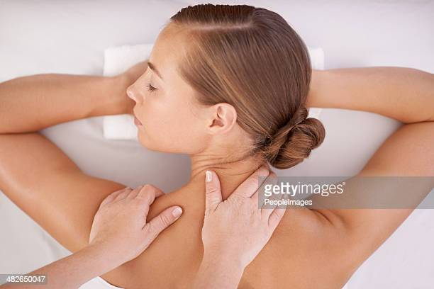 just what she needed - massage stock photos and pictures