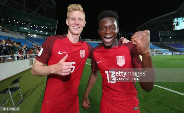 Justen Glad and Lagos Kunga of USA celebrate at th final whistle during the FIFA U20 World Cup Korea Republic 2017 Round of 16 match between USA and...