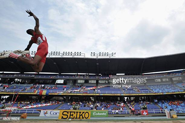 Justes Nance of USA competes in Men Long Jump Final on Day 1 of IAAF World Youth Championships at Pascual Guerrero Stadium on July 15 2015 in Cali...