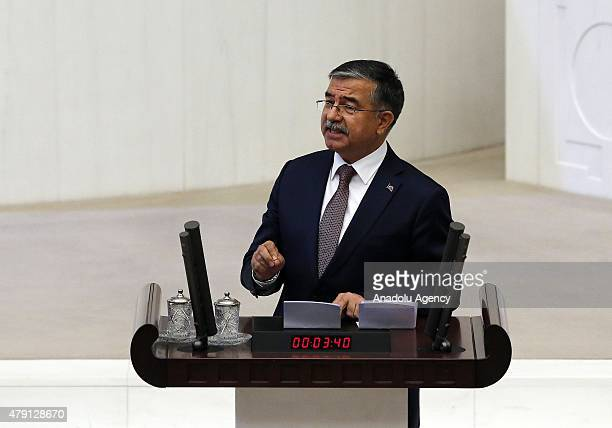 Justice and Development Party MP Ismet Yilmaz speaks after he elected as Turkey's new parliamentary speaker with the 258 valid votes on the fourth...