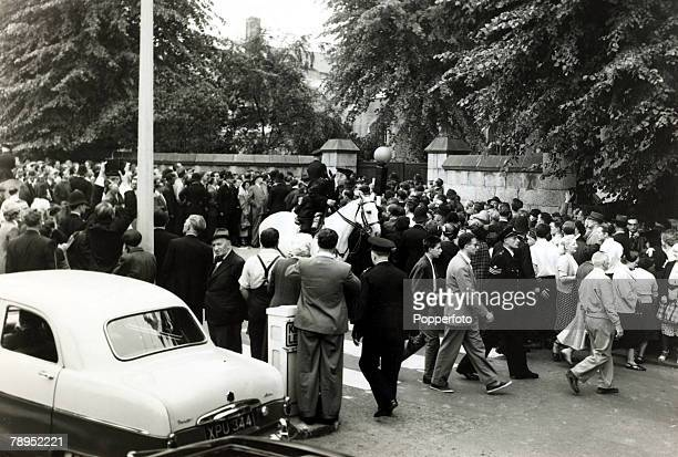 Justice Capital Punishment Great Britain pic 13th July 1955 Police on duty controlling the crowd who are at Holloway Prison London where Ruth Ellis...