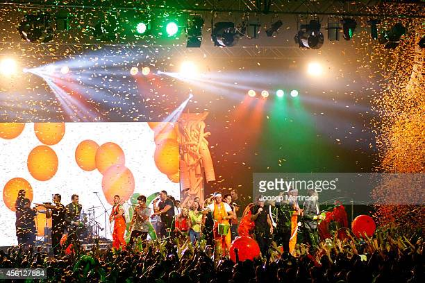 Justice Crew perform at the end of the Nickelodeon Slimefest 2014 evening show at Sydney Olympic Park Sports Centre on September 26 2014 in Sydney...