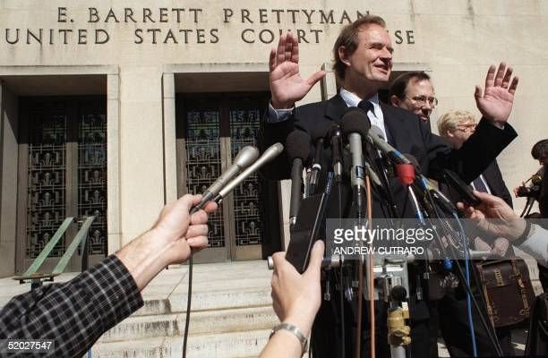 Justice Department lead attorney David Boies speaks to reporters during a midday break 20 October outside of the US District Courthouse in...