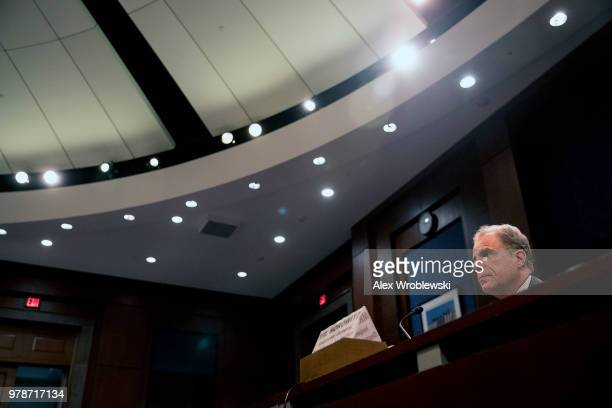 Justice Dept Inspector General Michael E Horowitz testifies to the house committee on June 19 2018 in Washington DC The report focuses on the Justice...