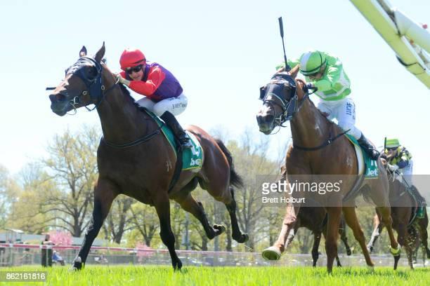 Justice Faith ridden by Beau Mertens wins the Elusive Style Maiden Plate at Kyneton Racecourse on October 17 2017 in Kyneton Australia
