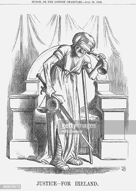 'Justice For Ireland' 1866 Madame Justice is depicted here as blinded deaf and lame This cartoon is accompanied by a short poem entitled 'Justitia...