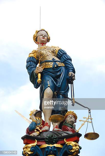 justice fountain, berne, switzerland - bern canton stock pictures, royalty-free photos & images