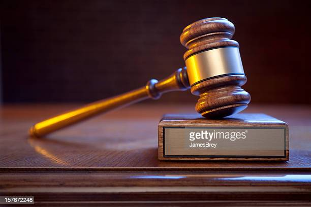 Justice Gavel And Block On Judge's Bench With Blank Plaque