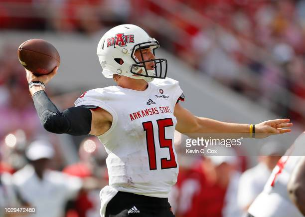 Justice Hansen of the Arkansas State Red Wolves looks to pass against the Alabama Crimson Tide at BryantDenny Stadium on September 8 2018 in...