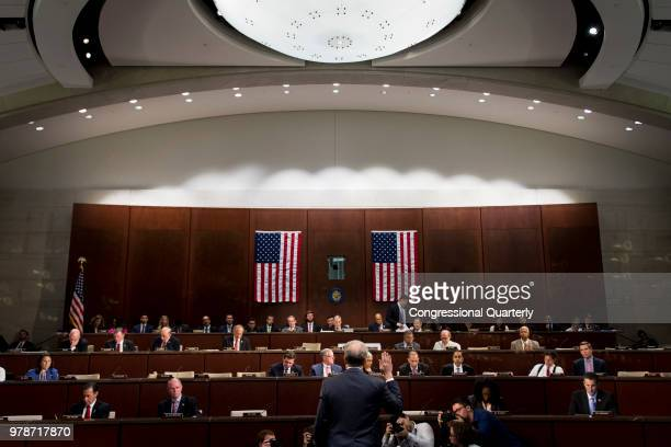 Justice Inspector General Michael Horowitz is sworn in before testifying before the joint hearing titled Oversight of the FBI and DOJ Actions in...