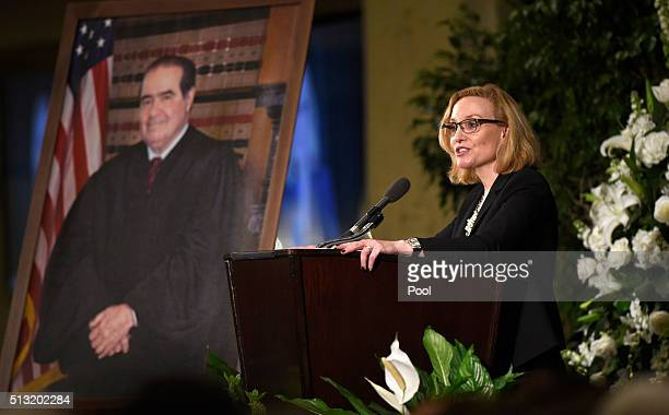 Justice Joan Larsen of the Michigan Supreme Court and a former clerk for Supreme Court Justice Antonin Scalia speaks at his memorial service at the...