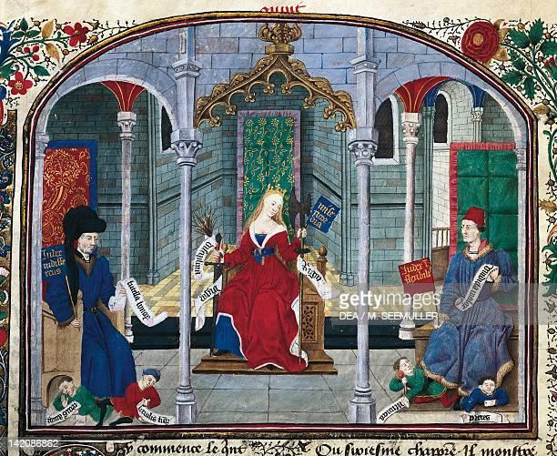 Justice miniature from Ethics Politics the Economy by Aristotle folio 71 verso manuscript France 14521457